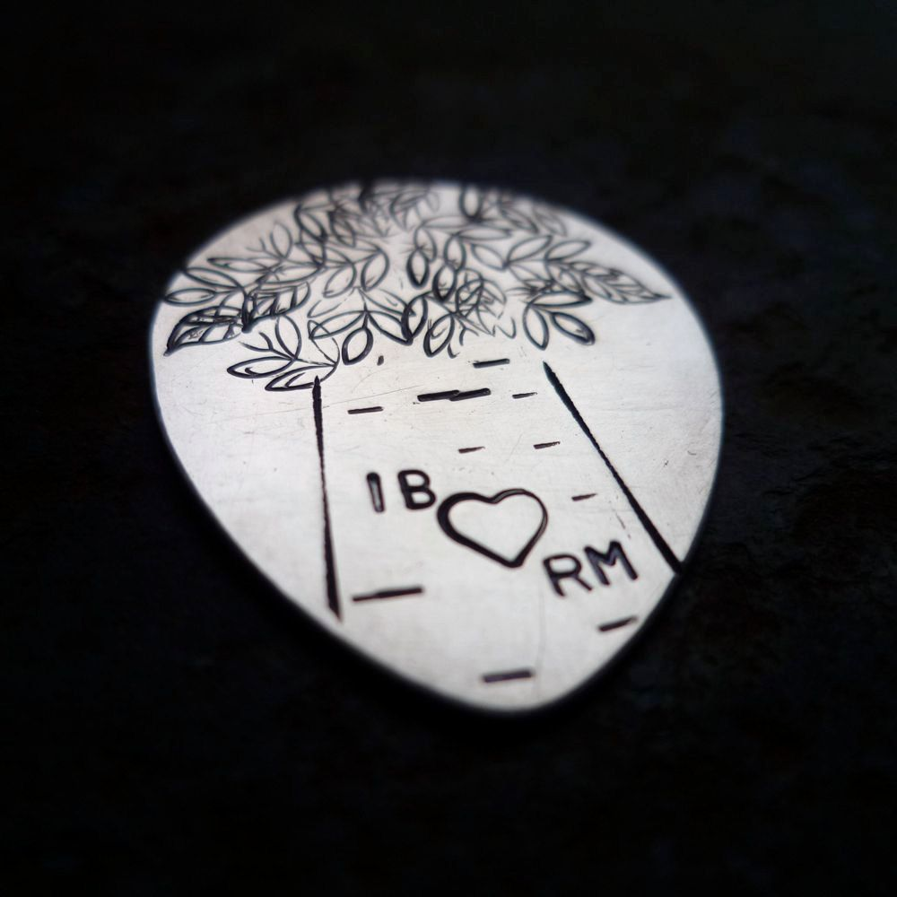 custom personalized  hand stamped guitar pick plectrum music musical gift with sterling heart. $33.00, via Etsy.