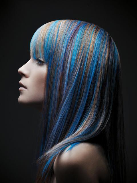 womans long hair color vivid blue colors wdark silver fashion style - Blue Color Hair