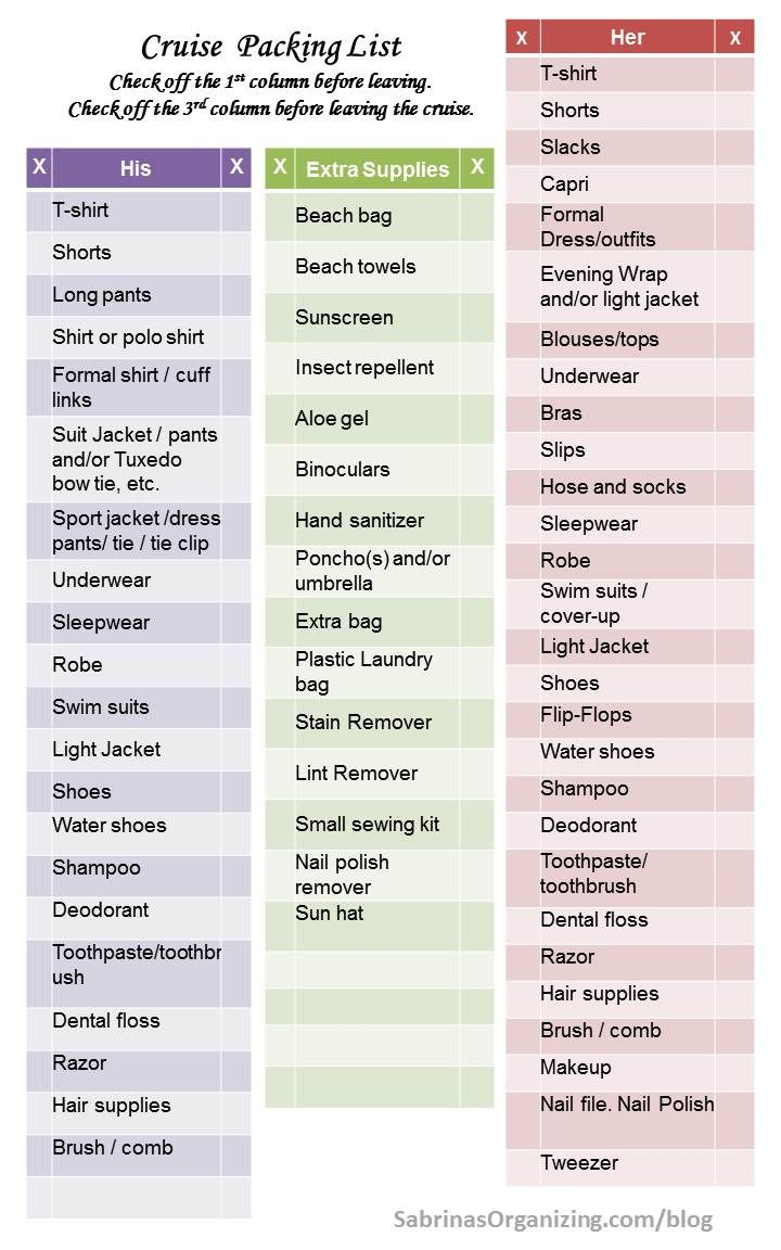 3 page cruise packing list for the entire family. FREE checklist ...