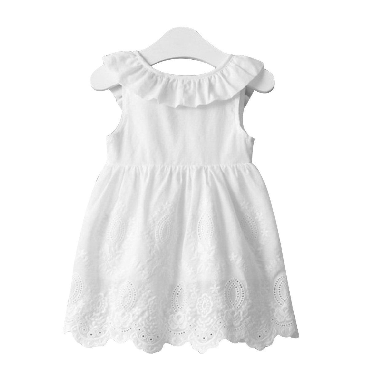 Baby kids girl bowknot lace floral dress party formal bridesmaid