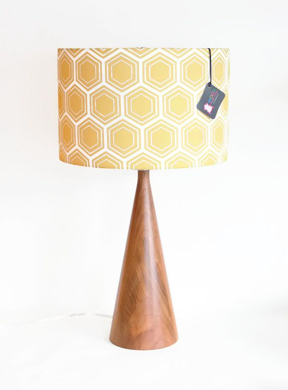 Modern Lamp Shade Free Shipping 14 Drum Gold Yellow Geometric Honeycomb As Seen On Apartment Therapy Etsy 116 92