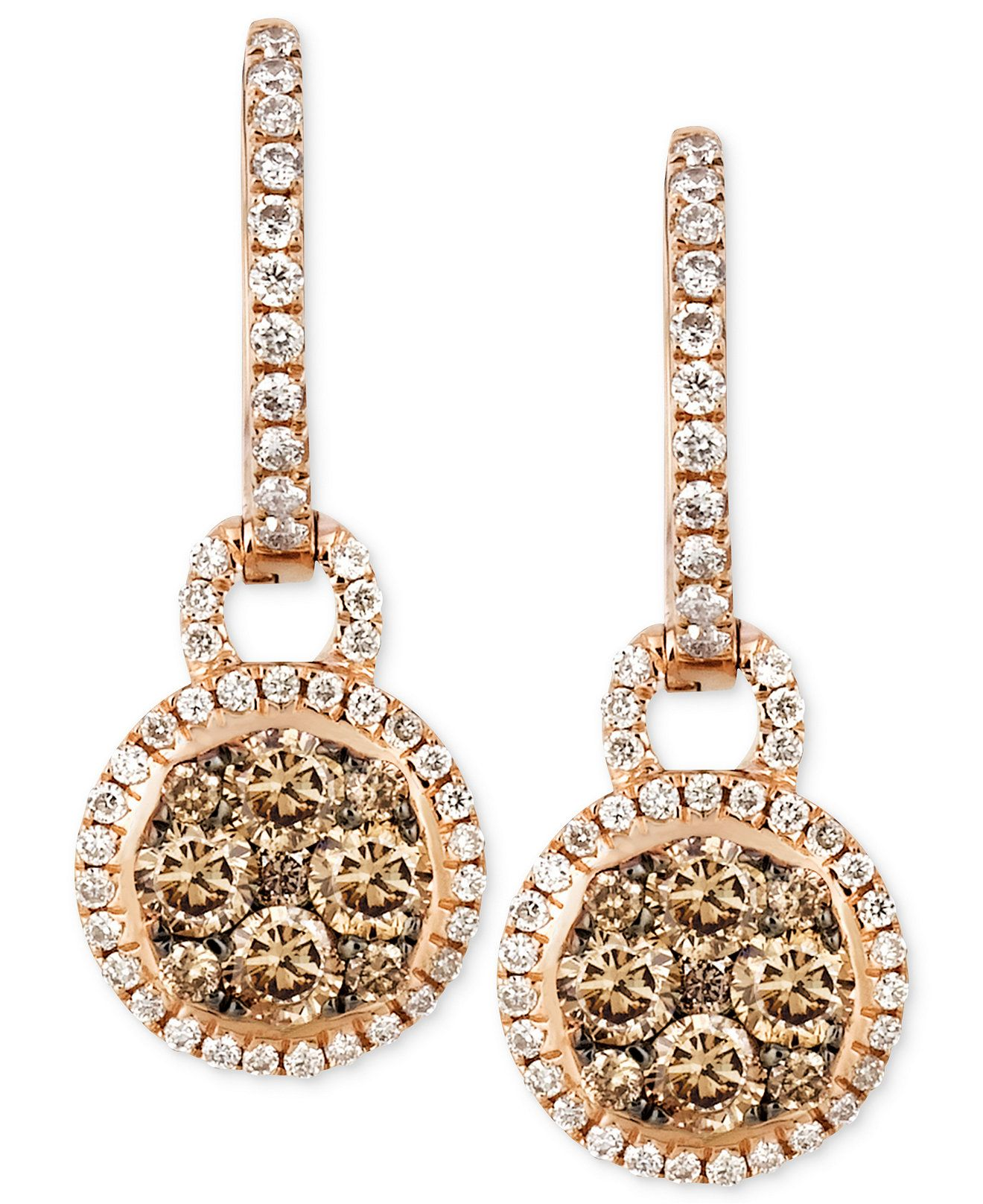 Le Vian Chocolate and White Diamond Circle Drop Earrings 1 ct tw