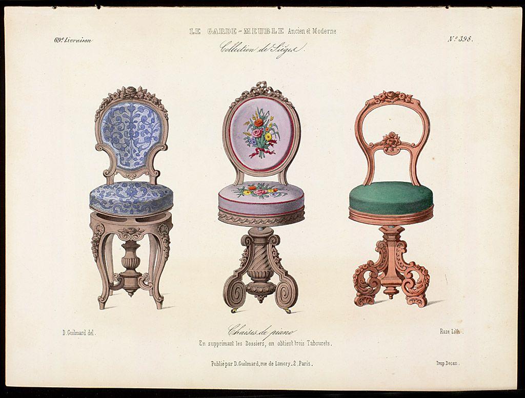 Louis Xvi Music Chairs From Le Garde Meuble Ancien Et Moderne 1839