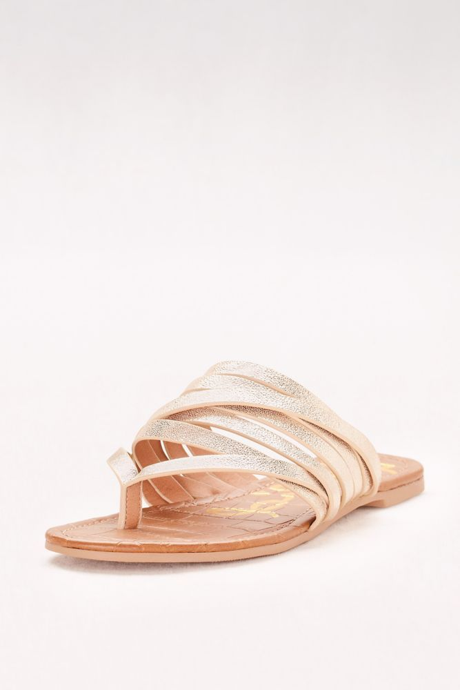 93f275c9582c3 Metallic Strappy Flip Flop Sandals - Champagne (Yellow)