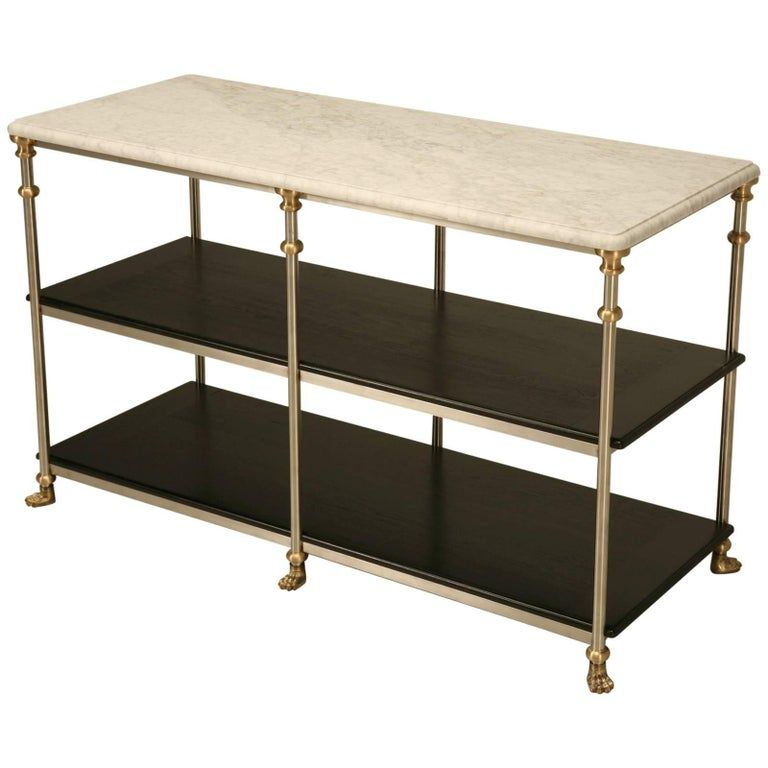 French Industrial Style Kitchen Island, Stainless Steel and Bronze with Paw Feet #frenchindustrial