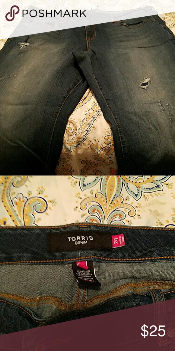 Torrid distressed jeans Never worn distressed torrid denim. Excellent condition torrid Jeans Boyfriend