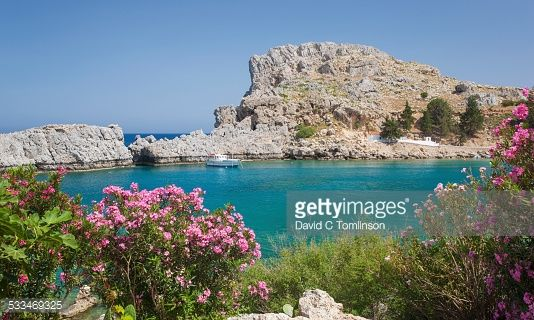 Photo : View across St Paul's Bay, Lindos, Rhodes, Greece