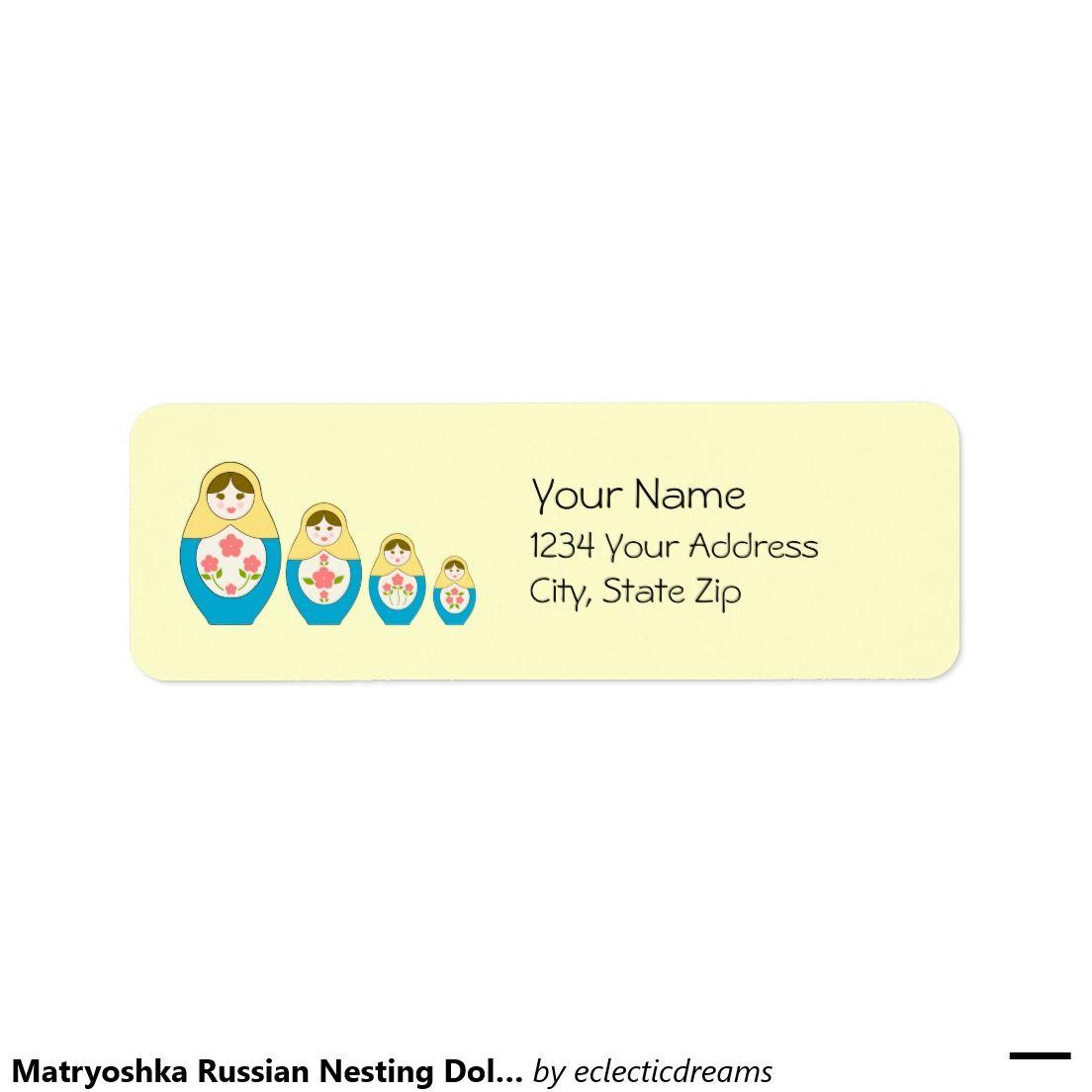 Matryoshka Russian Nesting Dolls - Yellow Return Address Label