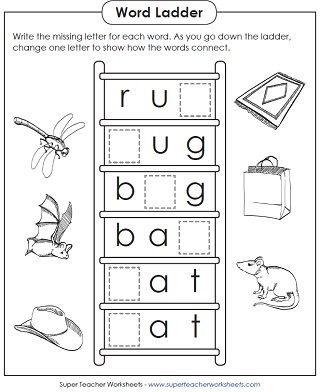Basic Word Ladder Puzzle Worksheets For Teaching Phonics With