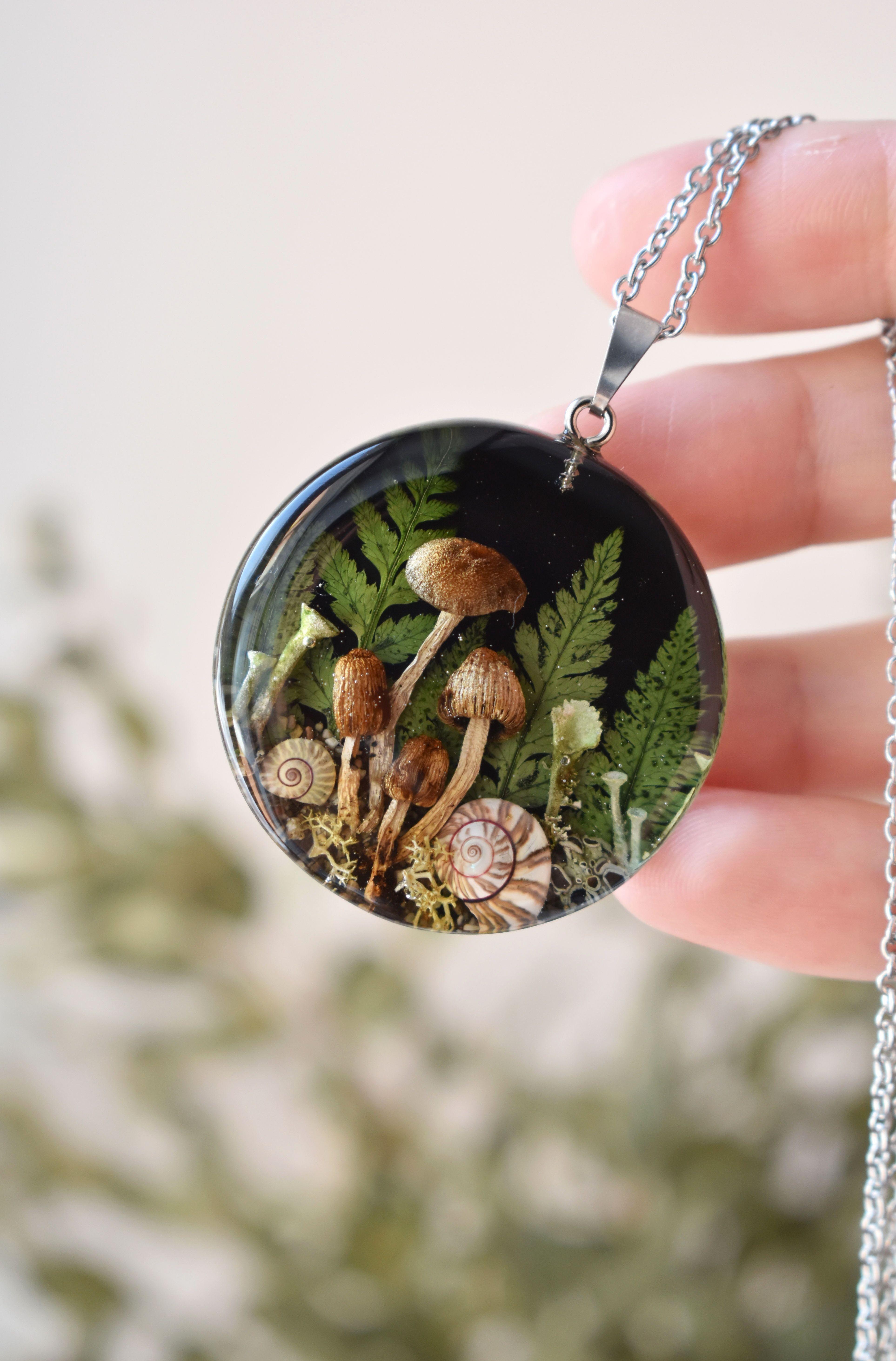 Forest Jewelry Porcelain Mushroom Earrings Porcelain Mushroom Pendant Porcelain /& Macrame Jewelry Forest Necklace Porcelain Jewelry Set