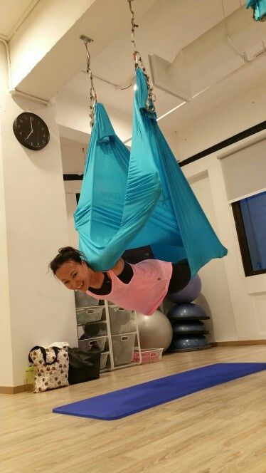 Side View Of Vampire Pose Aerial Yoga