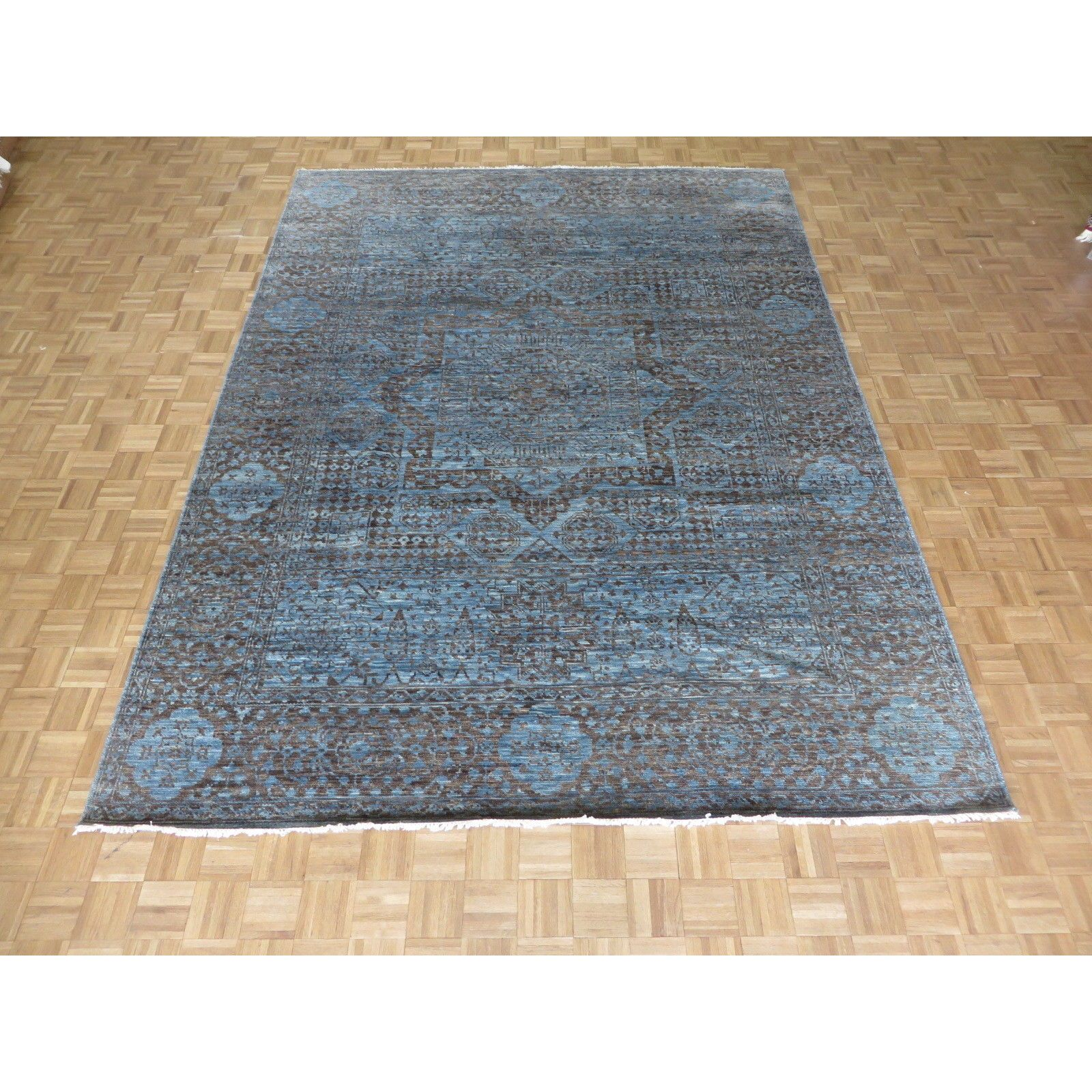 Hand Knotted Sky Blue Mamluk With Wool Oriental Rug 9 2 X 12 3 9 2 X 12 3 Sky Blue Blue Area Rugs Blue Area Rugs