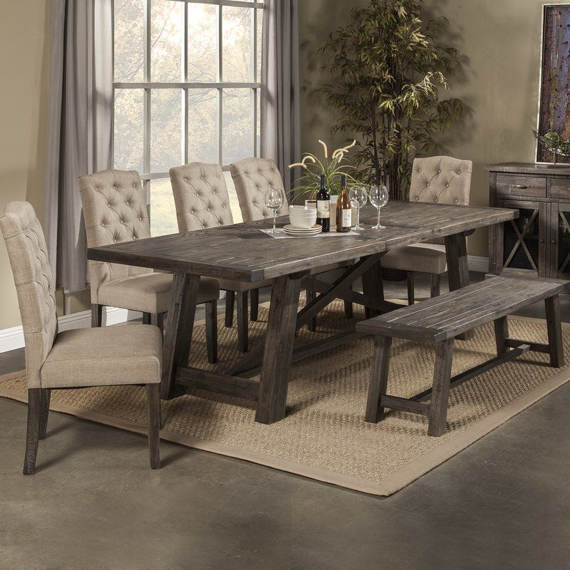 26++ 6 piece farmhouse dining set with bench type