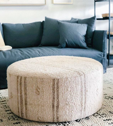 Cozy Neutral Striped Round Ottoman From Amethyst Home Picture By