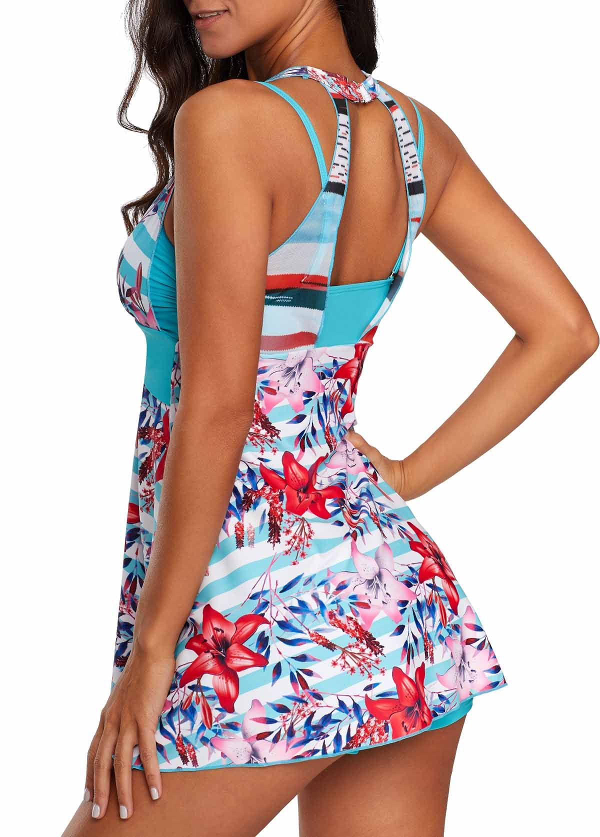 0a58ee4418 H Back Flower Print Padded Swimdress and Shorts | modlily.com - USD $28.81