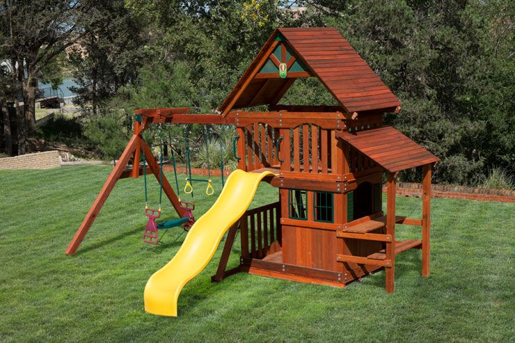 Wooden Swing Set Playhouse At Discount Prices In Texas Swing Set