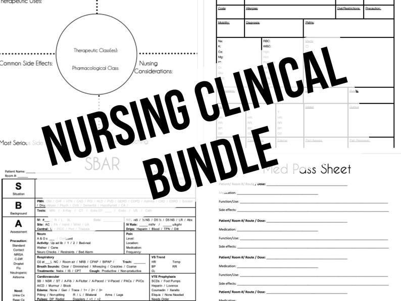 Nursing Clinical BUNDLE Med Surg SBAR Med Pass Sheets