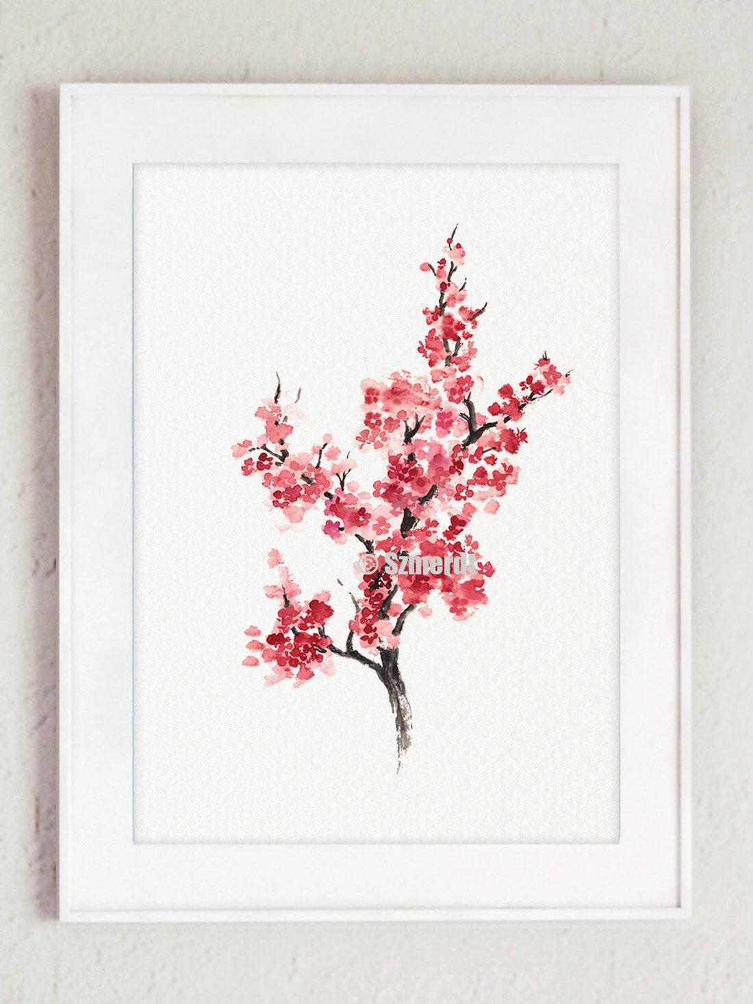 Cherry Blossom Tree Sakura Home Decor Minimalist Painting