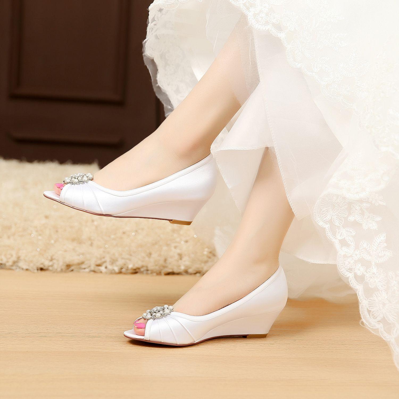 satin wedding shoes bridal shoes Comfortable wedge shoes Unique ...