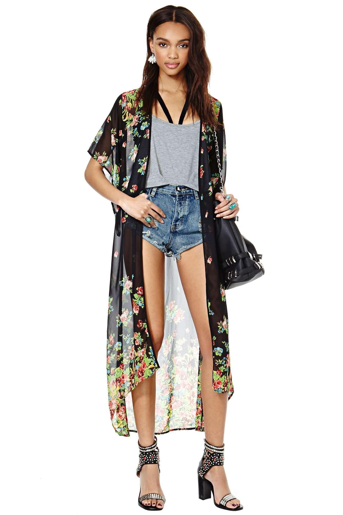 Floral Kimono Sheer Robe. Pair with a cute bikini for a glamorous ...