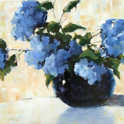 """Blue Without You"" impressionistic oil painting of blue hydrangeas 