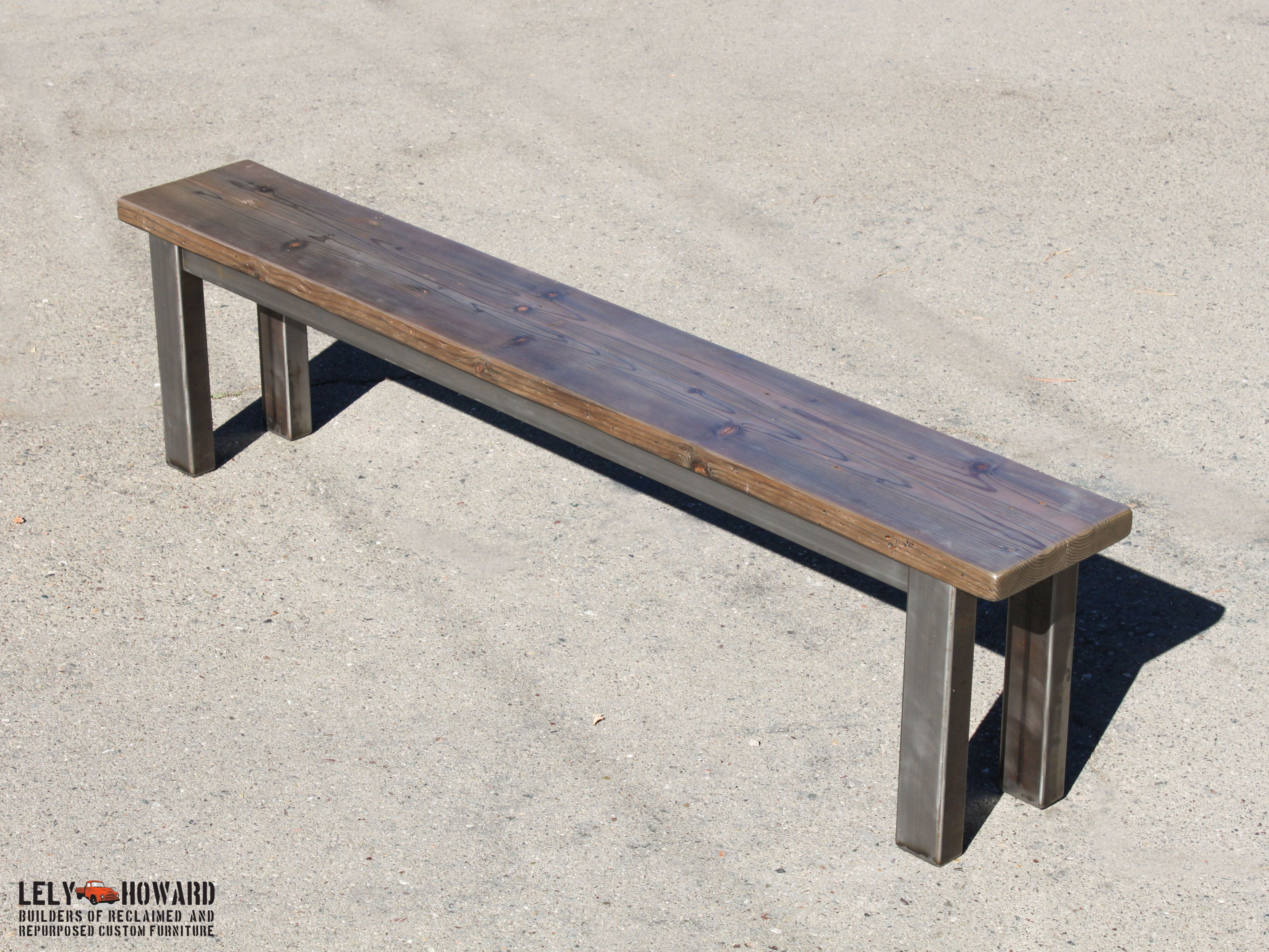 these industrial looking farm table benches are built using