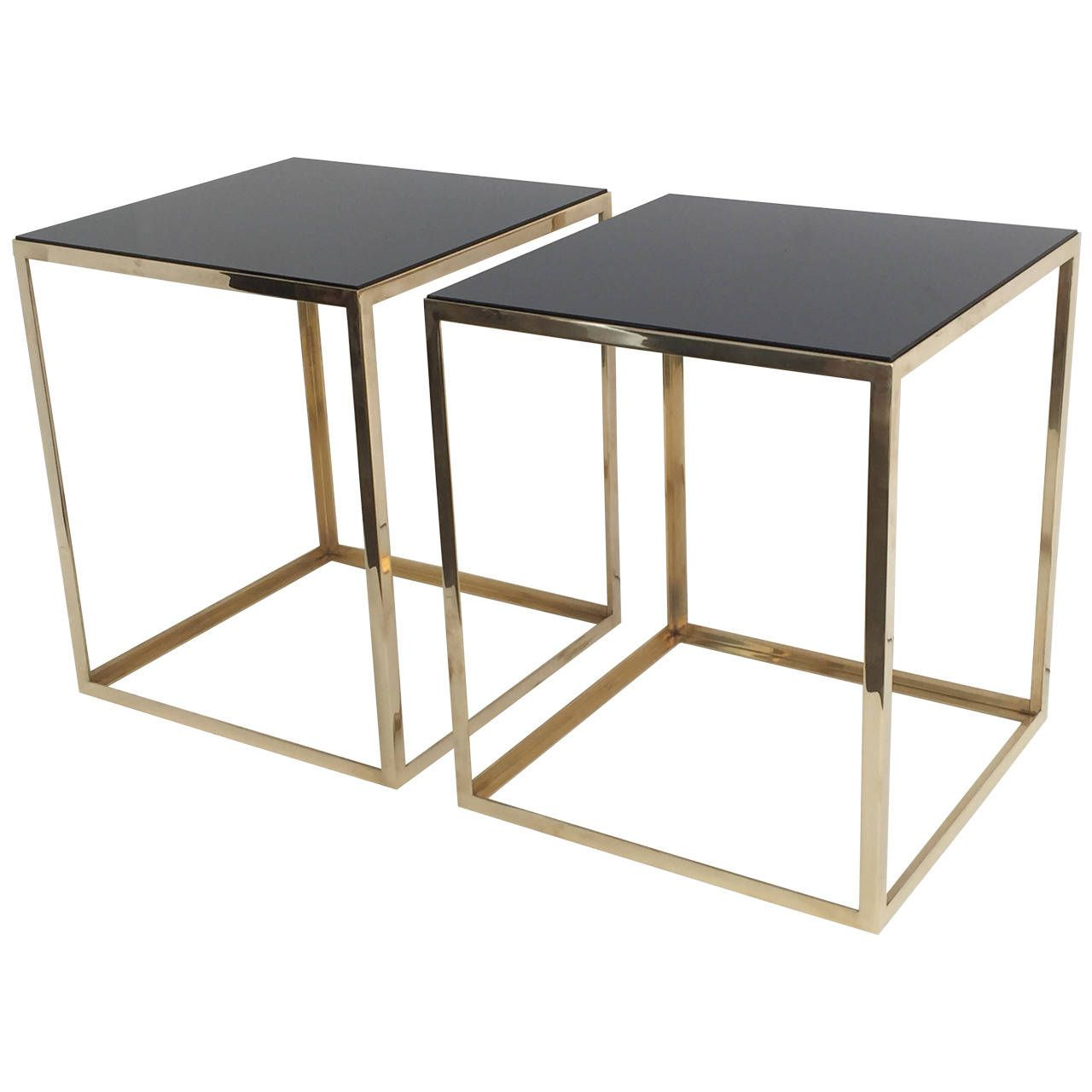 Pair Of Brass And Black Glass Cube Tables Glass Cube Cube Table Table [ 1280 x 1280 Pixel ]