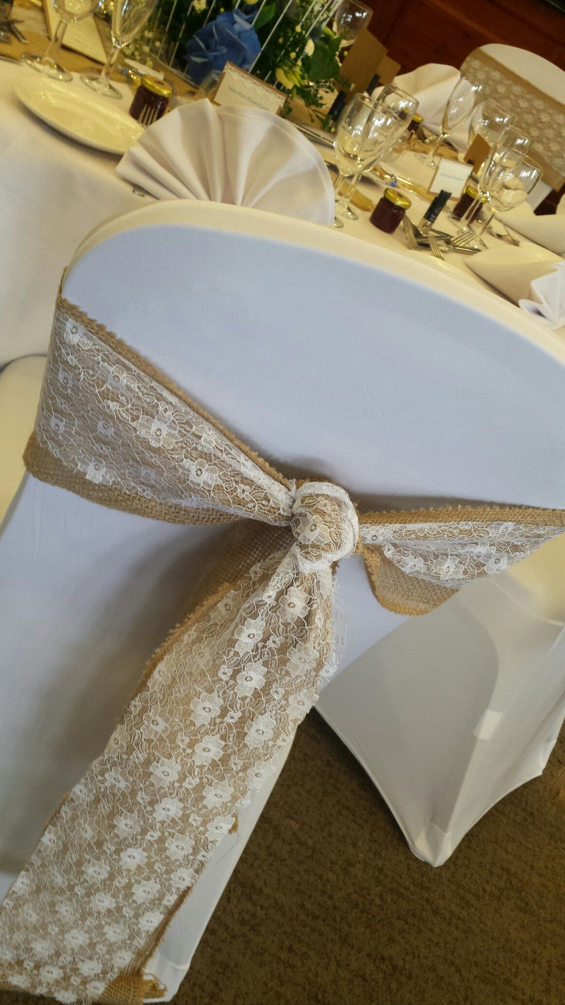 wedding chair covers and sashes for hire rocking replacement rockers perfect lace hessian knot party sash knots