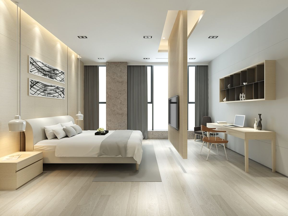 Modern bedroom wood elements are everywhere