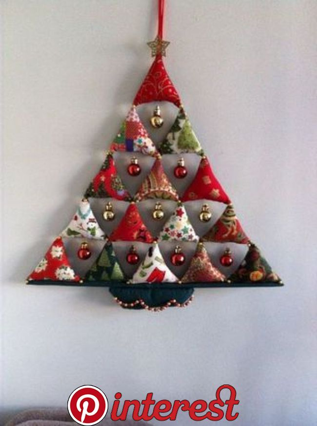 Christmas Tree Decoration Very Simple 15 Stuffed Triangles With Small Baubles Ha Fabric Christmas Ornaments Christmas Sewing Projects Fabric Christmas Trees