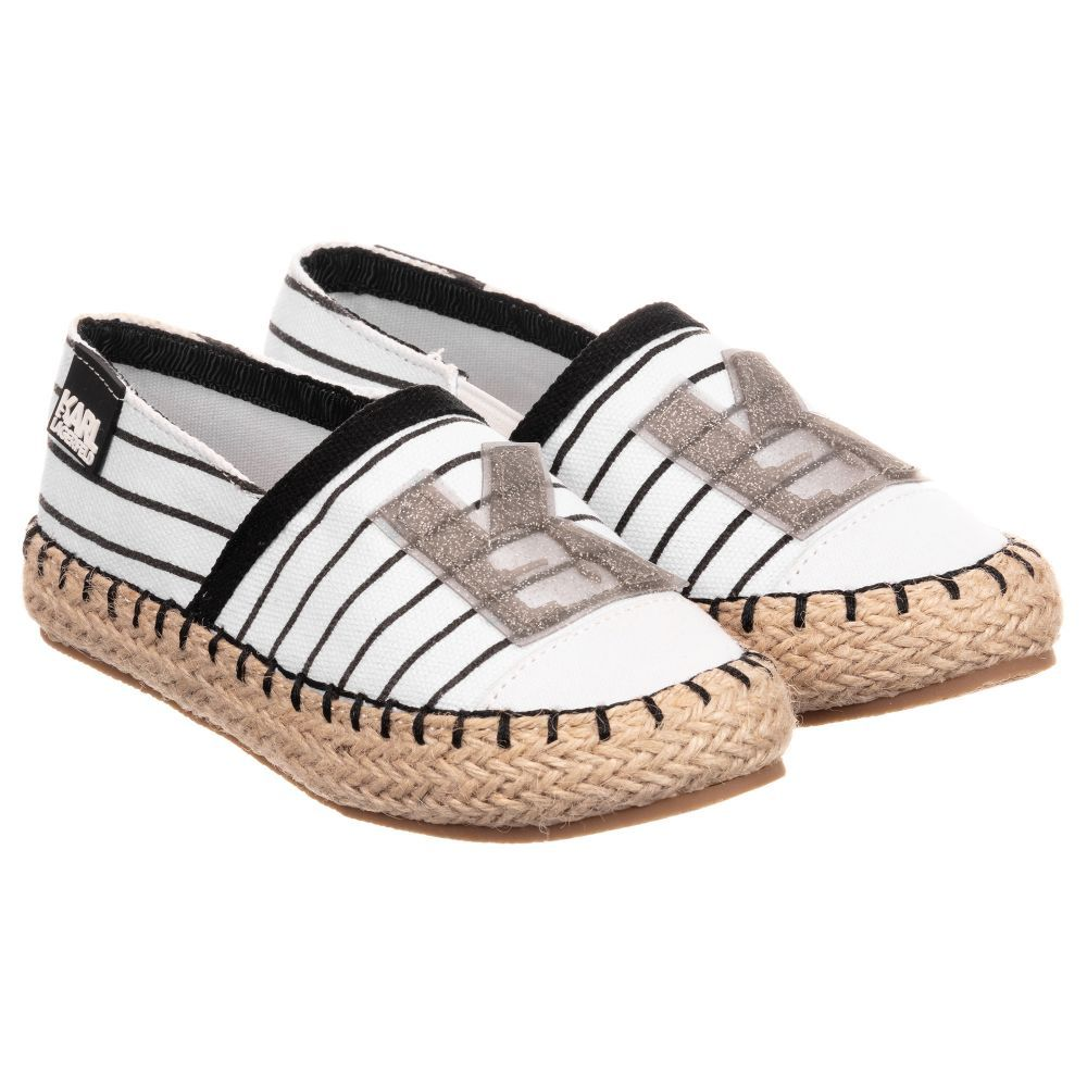 09ea8b2ff Girls black and white striped espadrilles by KARL LAGERFELD Kids. These  slip-on shoes are made in lightweight canvas, with a rope trimmed non-slip  rubber ...