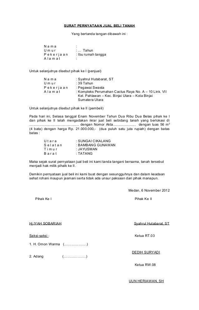 Format Surat Perjanjuan Jual Beli Suratmenyuratnet
