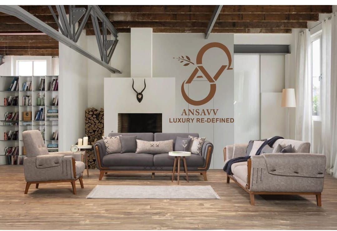 Elegant Living Mastered With Straight Line Royal Turkish Suede Sofa Set In Contrasting Colours With Some Artworks Adornin Furniture Luxury Furniture Home Decor