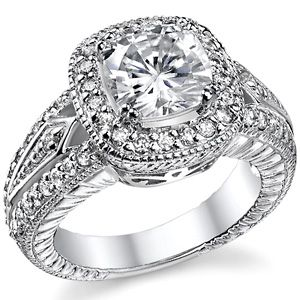 Cushion Cut Forever Brilliant Moissanite Halo Engagement Ring