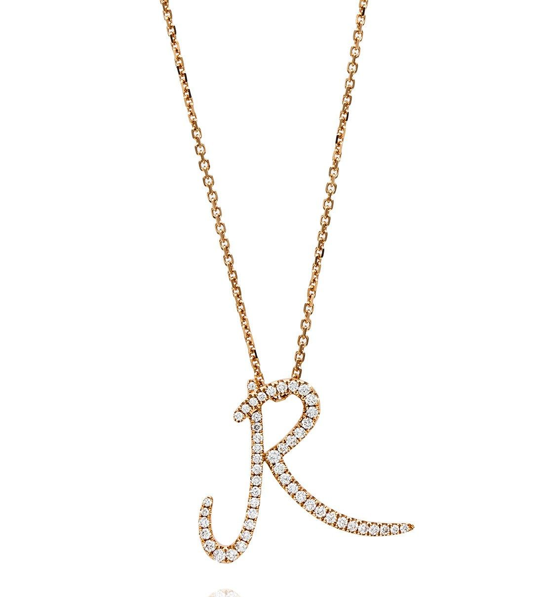 diamond rose gold love letter pendant in 18ct rose gold
