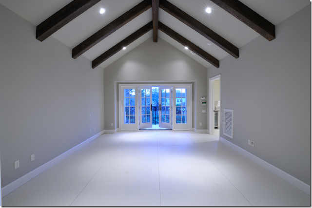 Contrast White Beadboard With Dark Wood Rafters Framing