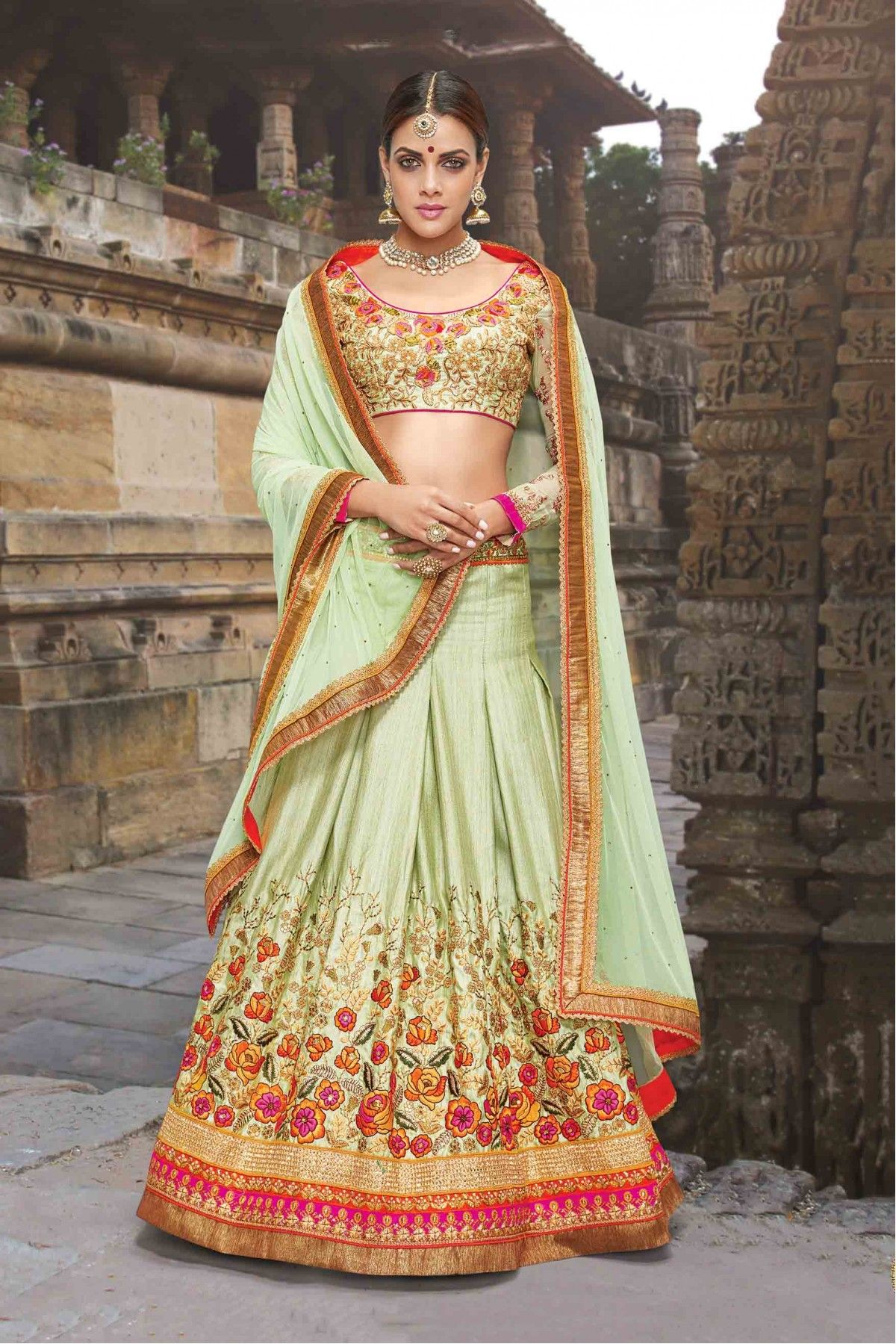 03f2bf3199 This Lehenga Choli Is Crafted With Embroidery,Patch Border Work,Resham Work.The  Lehenga Is Semi Stitched and C... Sea Green Colour Silk ...