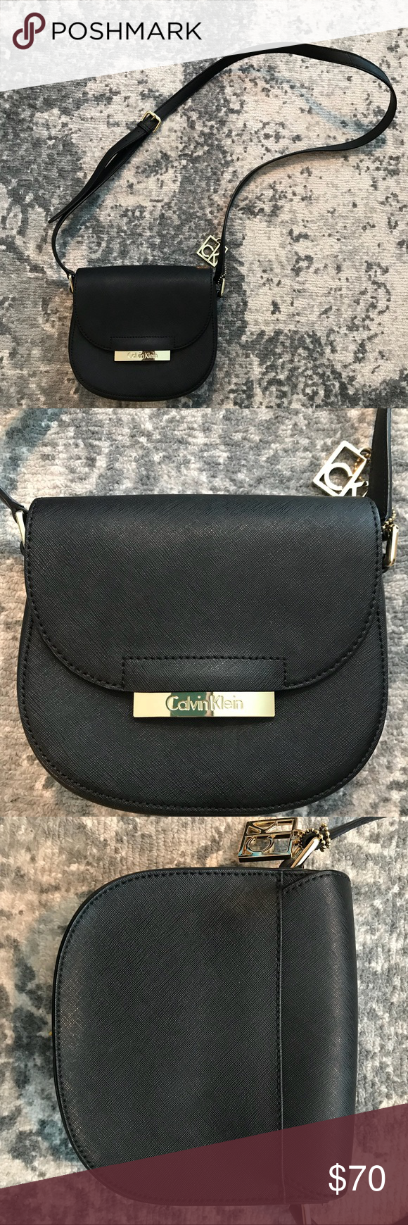 Calvin Klein Saffiano Leather Black Crossbody Bag Used It Only Few Times In Excellent Condition Adjustable St Black Cross Body Bag Calvin Klein Bag Crossbody