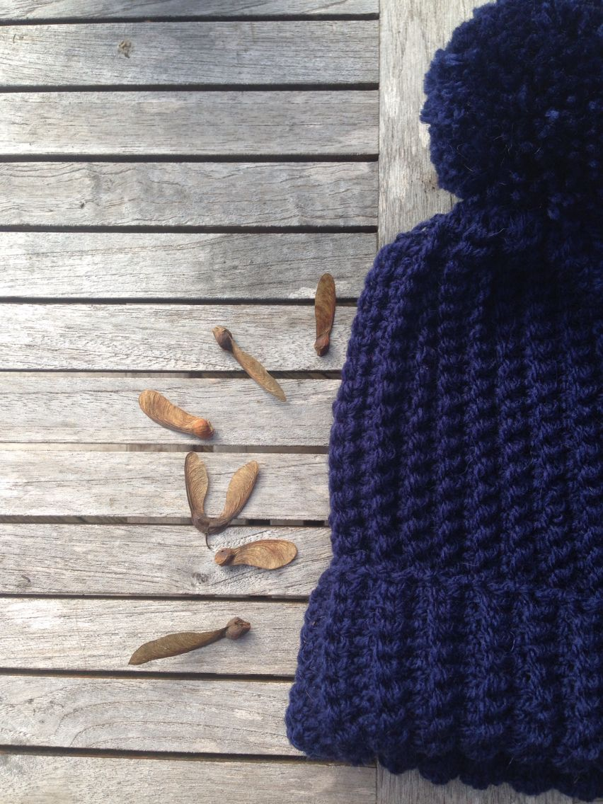 Classic French Navy Ribbed Bobble Beanie Hat- handmade by The Alley Alley Oh