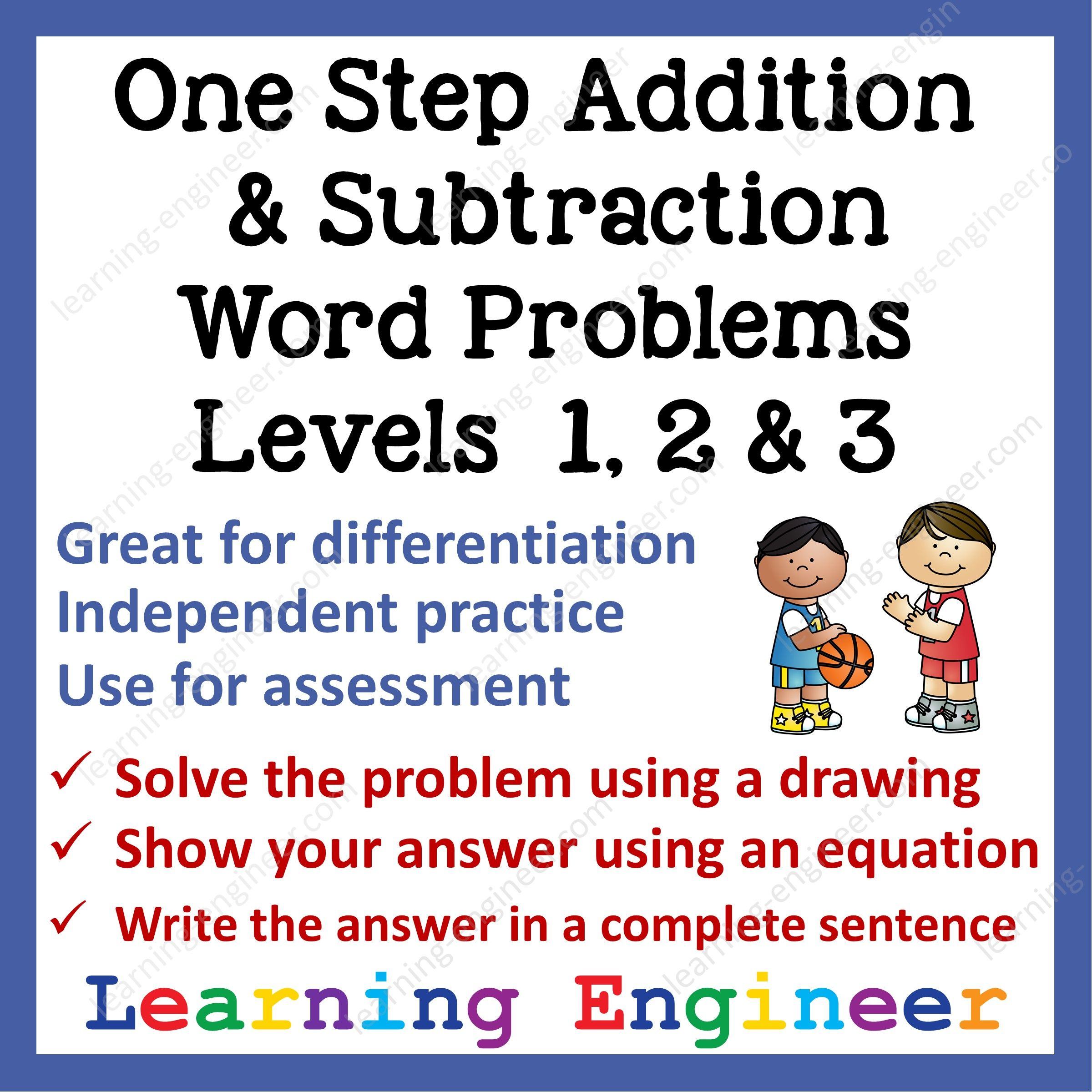 One Step Addition Word Problems Amp Subtraction Word