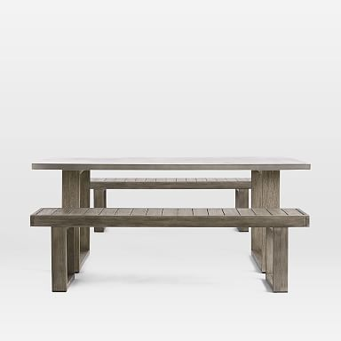 Concrete Outdoor Dining Table Portside Benches Set In 2020 Concrete Outdoor Dining Table Bench Set Concrete Dining Table
