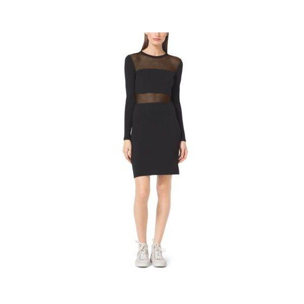 Michael Kors Sheer-Panel Ponte Dress, Size: M, Black(Black) (€50) ❤ liked on Polyvore featuring dresses, panel dress, lips dress, michael kors, shining dress and ponte dress