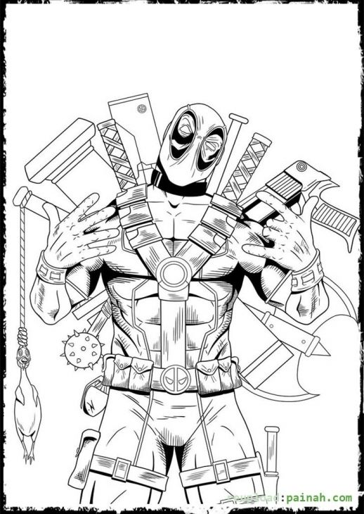 Marvel Deadpool Ausmalbilder Zum Ausdrucken: Deadpool Flaunting All Of His Weapons Coloring Page