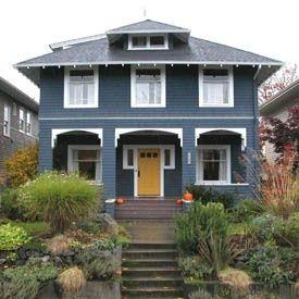 Blue House With Yellow Door