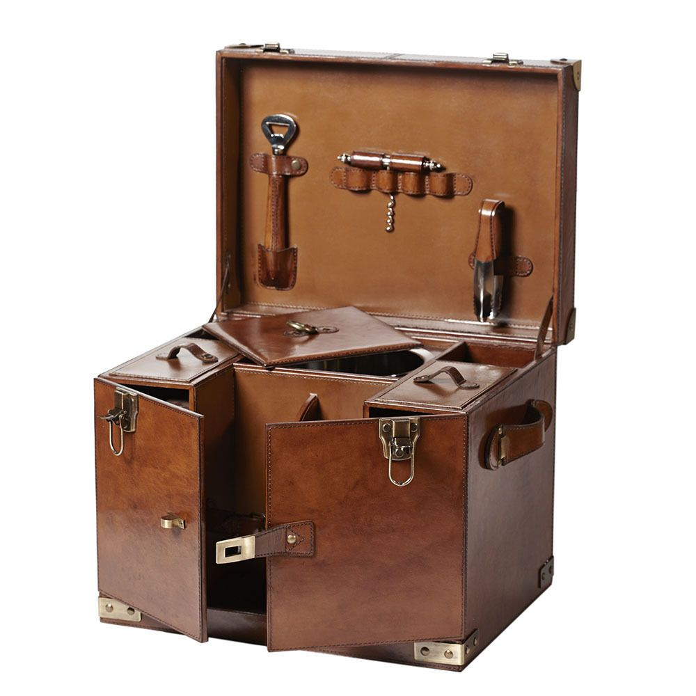 bar trunk furniture. english leather drinks hamper wine champagne trunk box campaign furniture bar