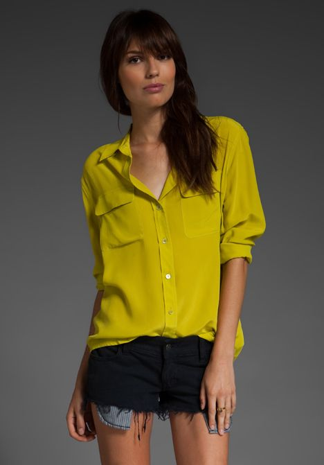 EQUIPMENT Blouse in Citronelle...love love love equipment silk blouses .. great for work and then throw on pair of shorts and looks awesome for summer