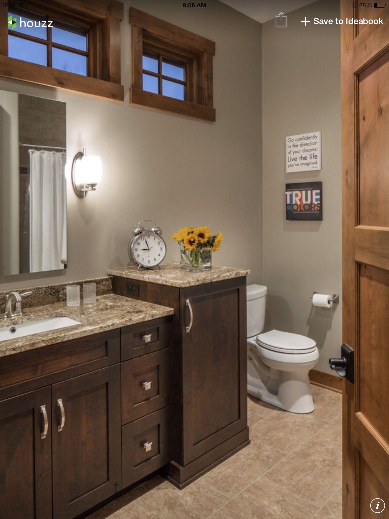 Wood Trim Around Window Lake House Bathroom House Bathroom Bathroom Decor