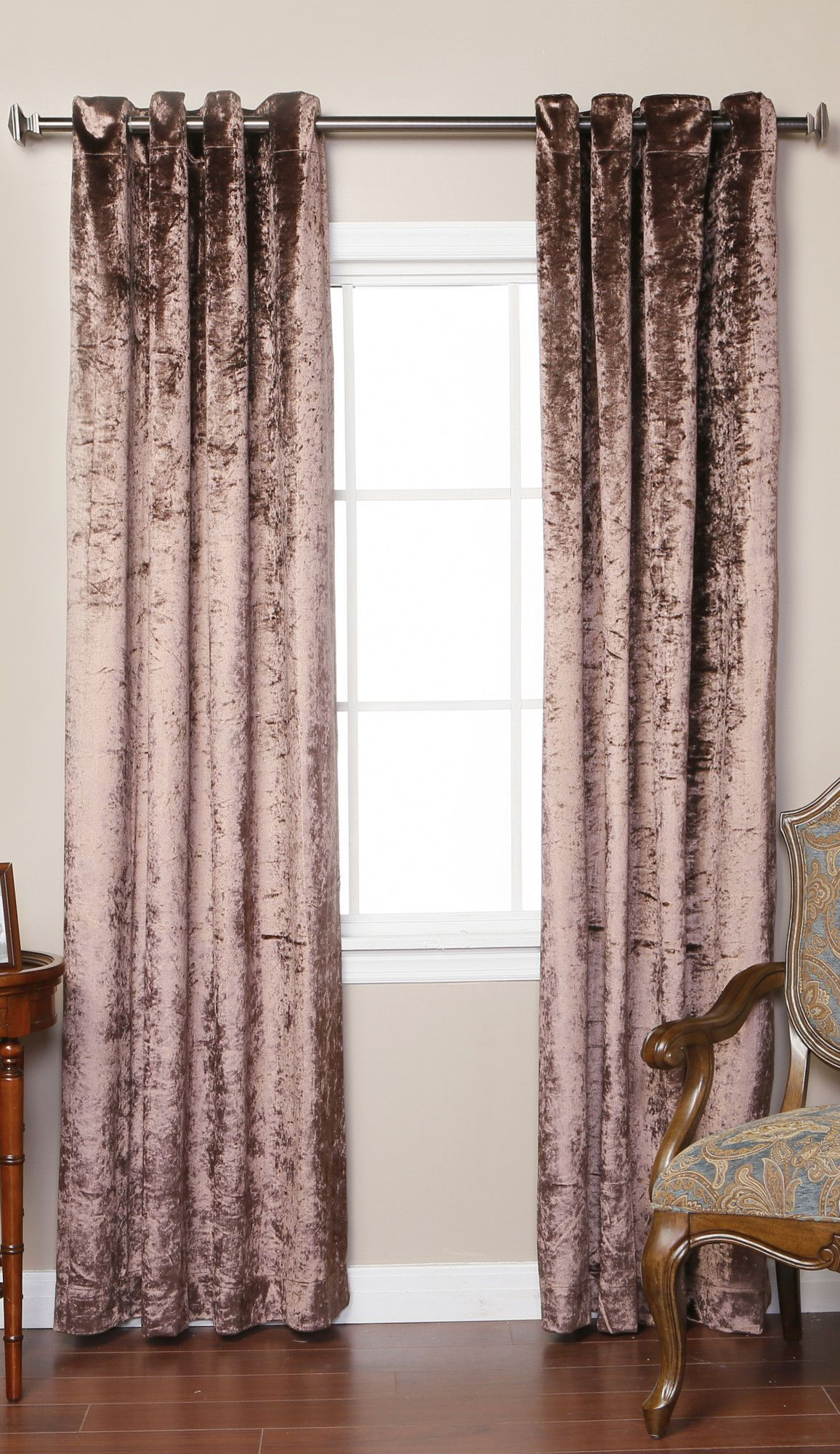 Velvet grommet top curtain panels modern bathroom pinterest
