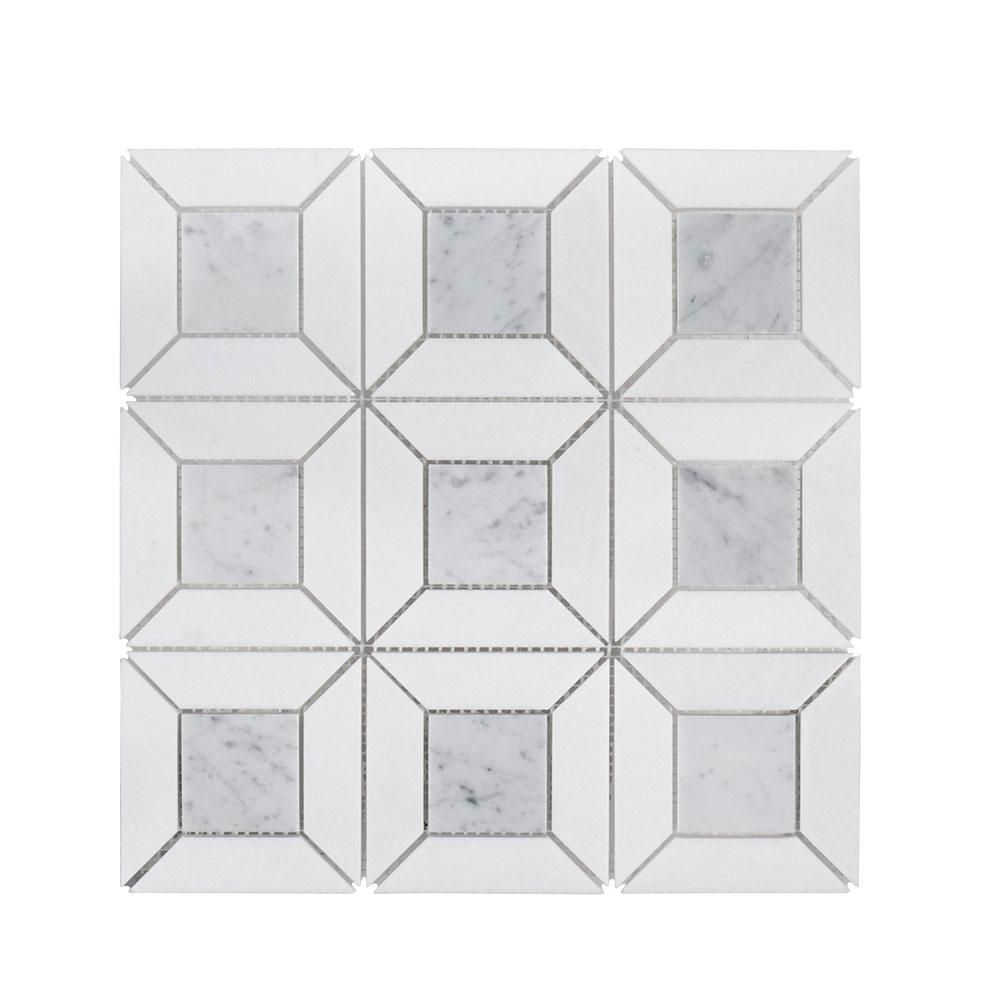 Jeff Lewis Doheny Thassos 12 In X 12 In X 10 Mm Stone Mosaic Wall Tile Stone Mosaic Wall Mosaic Wall Tiles Mosaic Floor Tile