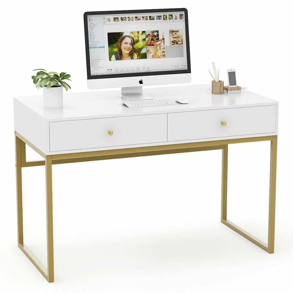 Tribesigns Modern Computer Desk With Drawers 47 Writing Desk Study Makeup Table Affilink Desk Desksetup Deskorga Study Table Home Office Desks Office Desk